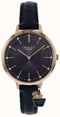 Radley | caja de oro rosa para mujer | correa de cuero azul | RY2798