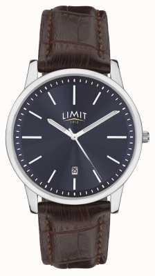 Limit | correa de cuero marrón para hombre | esfera azul | caja de plata | 5745.01