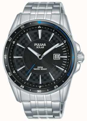 Pulsar | acelerador de deportes | pulsera de acero inoxidable | esfera negra PX3203X1