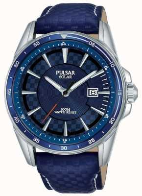 Pulsar | acelerador de deportes | correa de cuero azul | esfera azul | PX3205X1