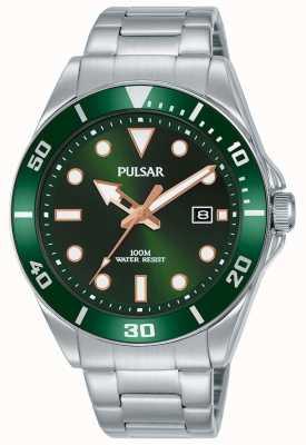 Pulsar | deporte casual | pulsera de acero inoxidable | esfera verde | PG8301X1