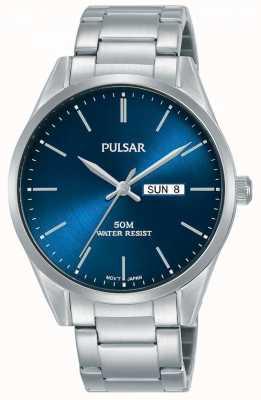 Pulsar | día / fecha hombre | pulsera de acero inoxidable | esfera azul | PJ6109X1