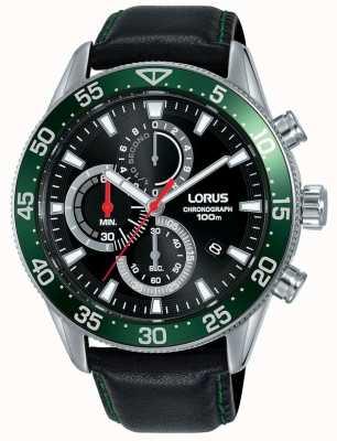 Lorus | cronógrafo para hombre | bisel verde | correa de cuero negro | RM347FX9