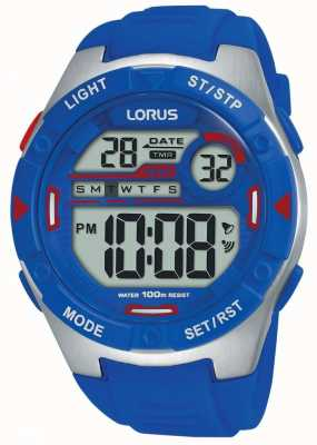 Lorus | mens sports digital | correa de caucho azul | R2301NX9
