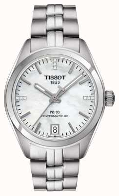 Tissot Womens pr 100 powermatic 80 acero inoxidable nácar T1012071111600