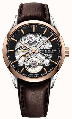 Raymond Weil Freelancer | automático | dial de esqueleto | correa de cuero marrón 2785-SC5-20001