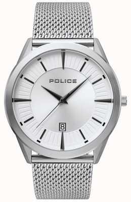 Police | hombre patriota | pulsera de malla de acero inoxidable | esfera plateada 15305JS/04MM
