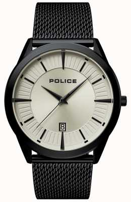 Police El | hombre patriota | pulsera de malla negra | esfera de color beige | 15305JSB/79MM