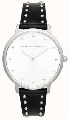 Rebecca Minkoff Grandes mujeres | pulsera de cuero negro | esfera plateada | 2200307