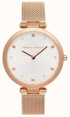 Rebecca Minkoff Mujer nina | pulsera de malla de oro rosa | esfera blanca | 2200301
