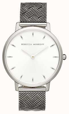 Rebecca Minkoff Las mujeres mayores | pulsera de malla de acero inoxidable | esfera plateada | 2200297