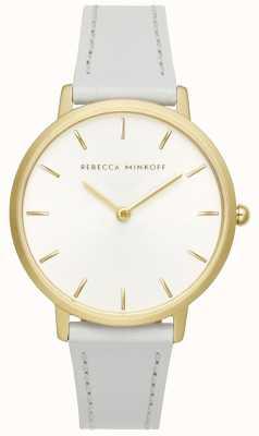 Rebecca Minkoff Las mujeres mayores | correa de cuero gris | esfera plateada / blanca | 2200289