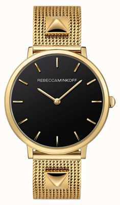 Rebecca Minkoff Grandes mujeres | pulsera de malla chapada en oro | esfera negra | 2200002