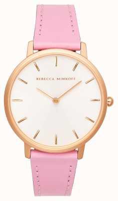 Rebecca Minkoff Las mujeres mayores | correa de cuero rosa | esfera plateada / blanca | 2200290