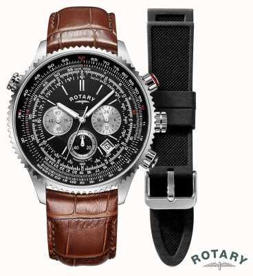 Rotary Pilotos de hombre | cronógrafo | esfera negra | correa de cuero marrón GS00100/04/KIT