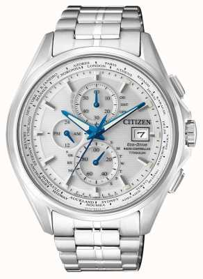 Citizen | cronógrafo de hombre eco-drive world en | pulsera de titanio | AT8130-56A