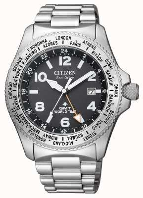 Citizen El | mens eco-drive promaster gmt | esfera negra | acero inoxidable BJ7100-82E