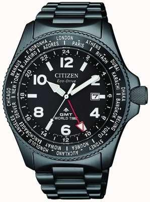 Citizen | promaster para hombre eco-drive gmt | esfera negra | pulsera negra | BJ7107-83E