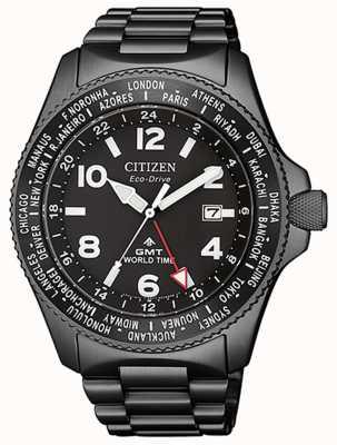 Citizen El | mens eco-drive promaster gmt | esfera negra | pvd gris BJ7107-83E