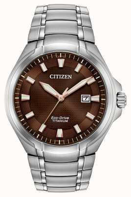Citizen El | hombre eco-drive | pulsera de titanio | esfera marrón | BM7431-51X