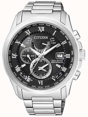 Citizen | hora mundial del eco-drive para hombre en | acero inoxidable | blackdial AT9081-89E