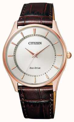 Citizen   mens eco-drive   correa de cuero marron   esfera plateada   BJ6483-01A