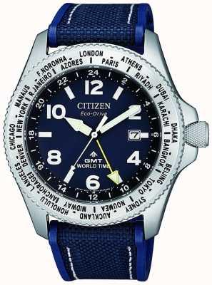 Citizen Reloj para hombre eco-drive promaster gmt con esfera azul y correa de lona azul BJ7100-15L