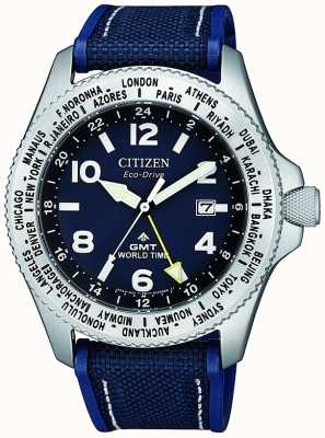 Citizen El | hombre eco-drive promaster gmt | esfera azul | correa azul | BJ7100-15L