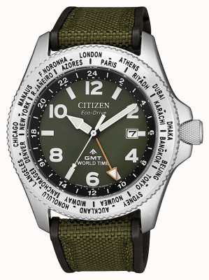 Citizen | mens | promaster eco-drive gmt | lona verde | BJ7100-23X