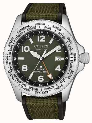 Citizen Reloj para hombre eco-drive promaster gmt con correa de lona verde y esfera verde BJ7100-23X