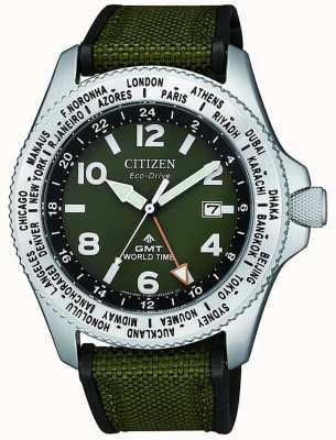 Citizen   mens   promaster eco-drive gmt   lona verde   BJ7100-23X