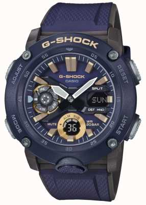 Casio | g-shock carbon core world time | correa de caucho azul | GA-2000-2AER