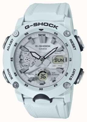 Casio | protector de núcleo de carbono g-shock | correa de goma blanca | GA-2000S-7AER