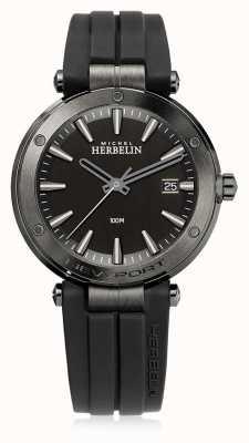 Michel Herbelin | mens newport | correa de caucho negro | esfera negra | 12288/G33CA