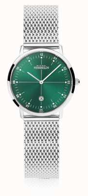 Michel Herbelin | ciudad de las mujeres | pulsera de malla de plata | esfera verde | 16915/16B