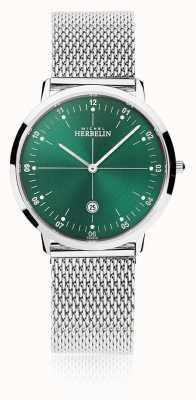 Michel Herbelin | ciudad para hombre / mujer | pulsera de malla de plata | esfera verde | 19515/16B