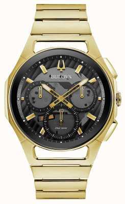 Bulova | curv | mens | pulsera dorada | dial crono negro | 97A144