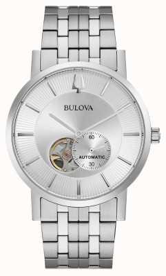 Bulova Mens automático | pulsera de acero inoxidable | esfera plateada 96A238
