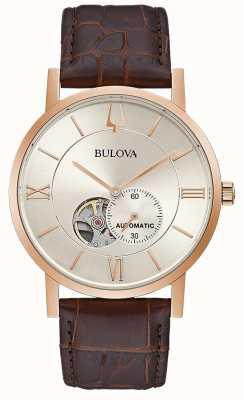 Bulova El | hombres | automático | correa de cuero marrón | esfera plateada | 97A150