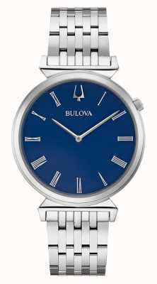 Bulova   mens   pulsera de acero inoxidable   esfera azul   96A233