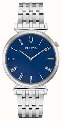 Bulova | mens | pulsera de acero inoxidable | esfera azul | 96A233