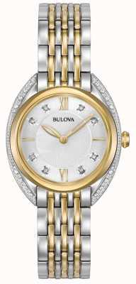 Bulova Diamante clásico para mujer | Pulsera de acero inoxidable de dos tonos. 98R229