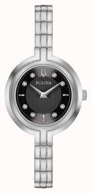 Bulova | rapsodia | mujer | pulsera de acero | esfera negra | 96P215
