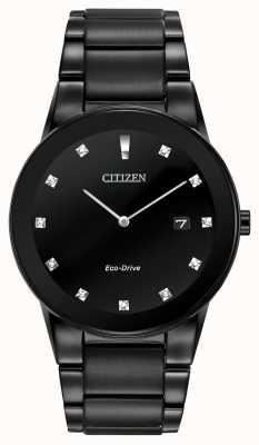 Citizen | axiom para hombre eco-drive | esfera de diamante negro | pulsera negra AU1065-58G