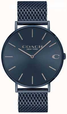 Coach Charles para hombre | pulsera de acero con malla azul ip | esfera azul 14602146