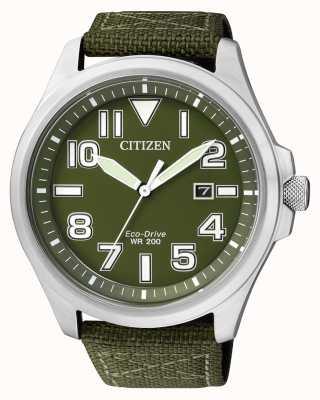 Citizen El | hombre eco-drive | correa de nylon verde | esfera verde | AW1410-32X