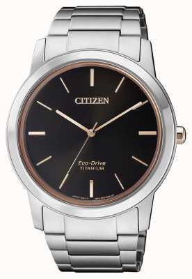 Citizen El | hombre eco-drive titanio wr50 | esfera negra | pulsera de plata AW2024-81E