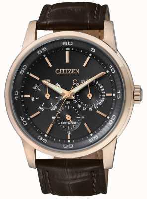 Citizen El   hombre eco-drive   correa de cuero marrón   esfera crono negro   BU2013-08E