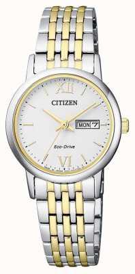 Citizen | unidad ecológica para mujer | pulsera bicolor | esfera plateada | EW3254-87A