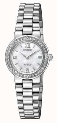 Citizen | unidad ecológica para mujer | estuche de cristal | pulsera de plata | EW9820-89D